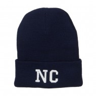NC North Carolina Embroidered Long Beanie - Navy