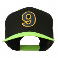 Arial Number 9 Embroidered Classic Two Tone Cap - Neon Yellow