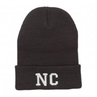 NC North Carolina Embroidered Long Beanie - Dk Grey