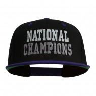 National Champions Embroidered Snapback Cap - Black Purple