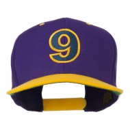 Arial Number 9 Embroidered Classic Two Tone Cap - Purple Gold