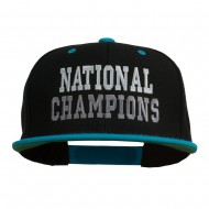 National Champions Embroidered Snapback Cap - Black Teal