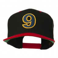Arial Number 9 Embroidered Classic Two Tone Cap - Black Red