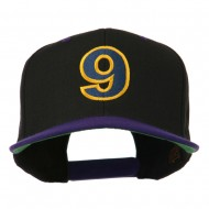 Arial Number 9 Embroidered Classic Two Tone Cap - Black Purple