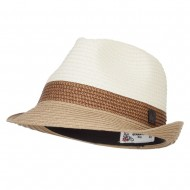 Patterned Band Paper Straw Fedora - Tan