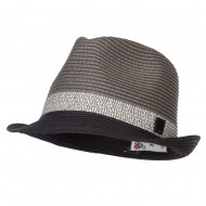 Patterned Band Paper Straw Fedora - Black