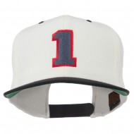 Athletic Number 1 Embroidered Classic Two Tone Cap - Natural Black