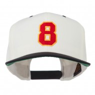 Number 8 Embroidered Classic Snapback Two Tone Cap - Natural Black