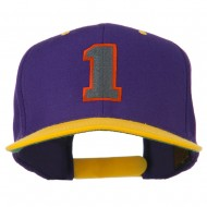 Athletic Number 1 Embroidered Classic Two Tone Cap - Purple Gold
