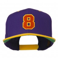 Number 8 Embroidered Classic Snapback Two Tone Cap - Purple Gold