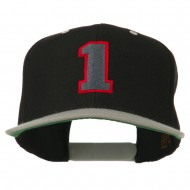 Athletic Number 1 Embroidered Classic Two Tone Cap - Black Silver