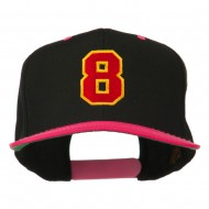 Number 8 Embroidered Classic Snapback Two Tone Cap - Black Pink
