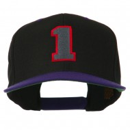 Athletic Number 1 Embroidered Classic Two Tone Cap - Black Purple