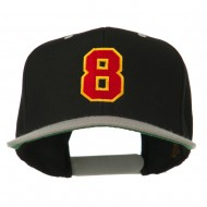 Number 8 Embroidered Classic Snapback Two Tone Cap - Black Silver