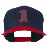 Athletic Number 1 Embroidered Classic Two Tone Cap - Navy Red
