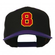 Number 8 Embroidered Classic Snapback Two Tone Cap - Black Purple
