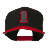 Athletic Number 1 Embroidered Classic Two Tone Cap - Black Red