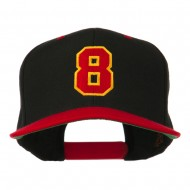 Number 8 Embroidered Classic Snapback Two Tone Cap - Black Red