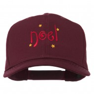 Christmas Noel with Stars Embroidered Cap - Maroon