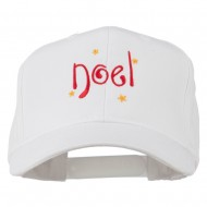 Christmas Noel with Stars Embroidered Cap - White