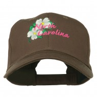 USA State North Carolina Embroidered Low Cap - Brown