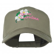 USA State North Carolina Embroidered Low Cap - Olive