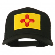 New Mexico State Flag Patched Mesh Cap - Black