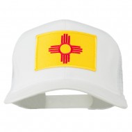 New Mexico State Flag Patched Mesh Cap - White