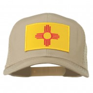New Mexico State Flag Patched Mesh Cap - Khaki