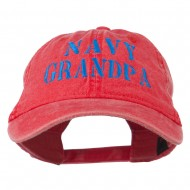 Navy Grandpa Embroidered Washed Cotton Cap - Red