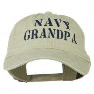 Navy Grandpa Embroidered Washed Cotton Cap - Khaki