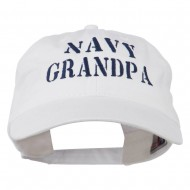 Navy Grandpa Embroidered Washed Cotton Cap - White