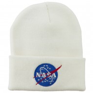 NASA Insignia Embroidered Long Beanie - White