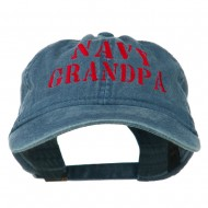 Navy Grandpa Embroidered Washed Cotton Cap - Navy