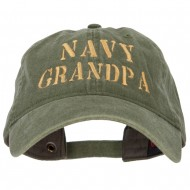 Navy Grandpa Embroidered Washed Cotton Cap - Olive Green