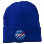 NASA Insignia Embroidered Long Beanie - Royal
