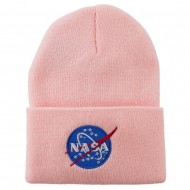 NASA Insignia Embroidered Long Beanie - Pink
