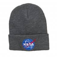 NASA Insignia Embroidered Long Beanie - Lt Grey