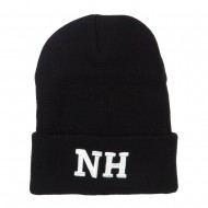 NH New Hampshire State Embroidered Long Beanie - Black