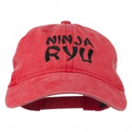 Halloween Ninja RYU Embroidered Washed Cap - Red