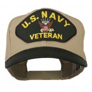 US Navy Veteran Military Patched Two Tone High Cap - Black Khaki