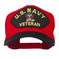 US Navy Veteran Military Patched Two Tone High Cap - Black Red