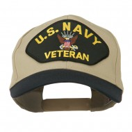 US Navy Veteran Military Patched Two Tone High Cap - Navy Khaki
