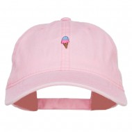 Mini Ice Cream Embroidered Washed Cap - Pink