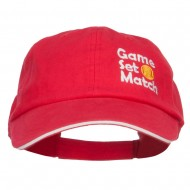 Tennis Game Set Match Embroidered Canvas Cap - Red White