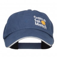 Tennis Game Set Match Embroidered Canvas Cap - Blue White