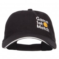 Tennis Game Set Match Embroidered Canvas Cap - Black White
