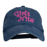 Girl's Nite Embroidered Pigment Dyed Brass Buckle Cap - Navy