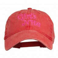 Girl's Nite Embroidered Pigment Dyed Brass Buckle Cap - Red