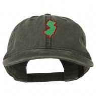New Jersey State Map Embroidered Washed Cotton Cap - Black